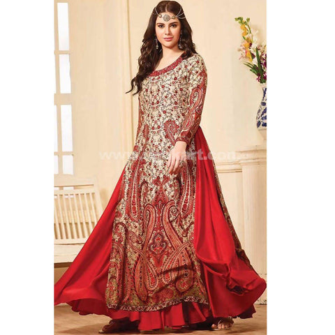 Golden and Red Weight Less Georgette Gown -Size:XXL