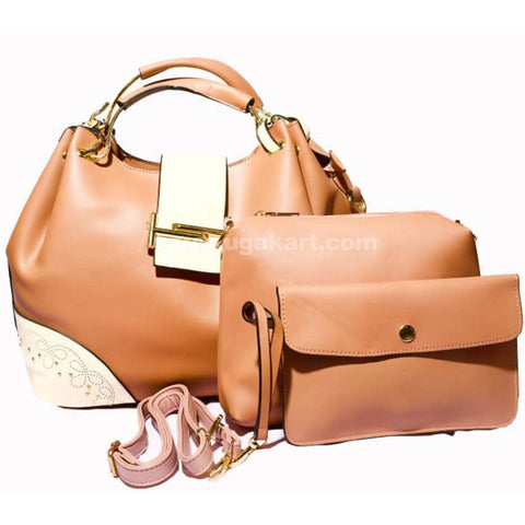 3Pcs Hand Bag Tan and White