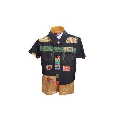 Dark Brown Shirt And Shorts For Boy_6 m to 1 yr