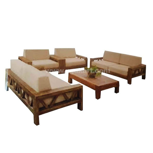 7 Seater Sofa High Density With fibre Cushions Set With Wooden Table