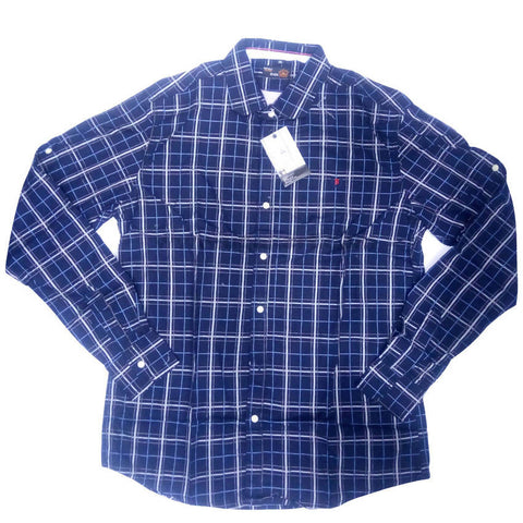 Dark Blue Full Sleeve Checkered Striped Shirt For Men