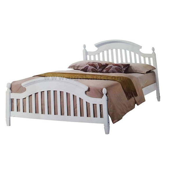 White Mission Wooden Double Bed