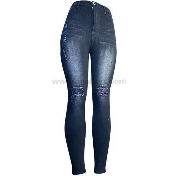 Black with White Shade High Waisted Women's Jeans