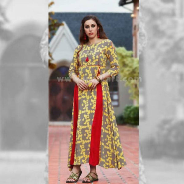 Long Kurti in Yellow, Grey And Red Color - Size XXL