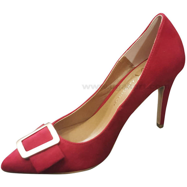 Red Plain With Beld High Heel Shoe For Women