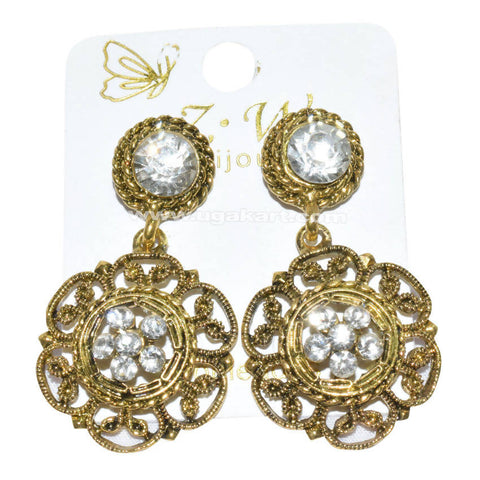 Golden Earrings with CZ Stone