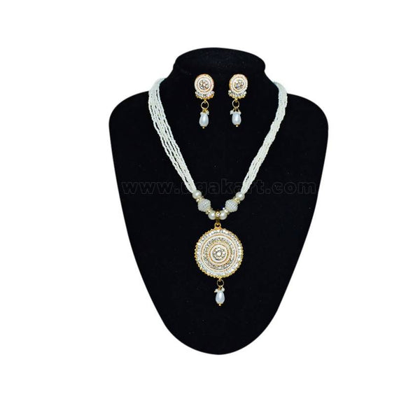 Pearl Necklace With Earings Round Shaped