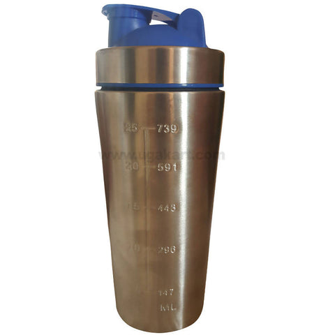 Silver and Blue GYM/SPORTS (STEEL) Bottle (739ML)