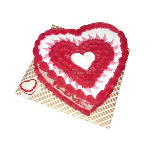 Red Heart Shaped White Forest Fresh Cream Cake