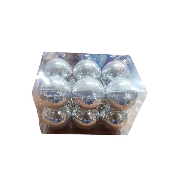 Decorations Balls-Silver-12Pc