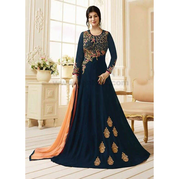 Dark Blue Georgette Santoon SemiStitched Gown