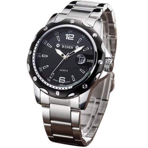 BIDEN Black Face & Silver Stainless Steel Strap Men's Watch