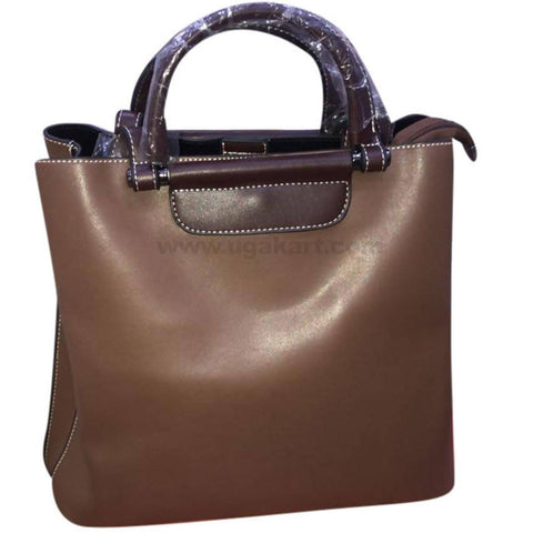 Dark Brown Ladies Short Handle Hand Bag