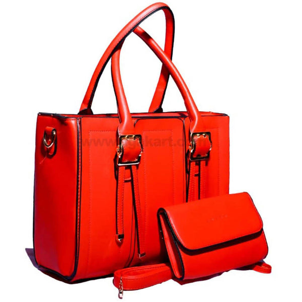 2PCS Red and Black Faux Leather Hand Bag
