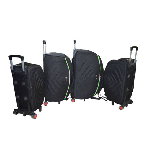 Black Carry on Travel Luggage Trolley Set of 4