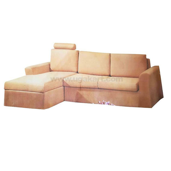 L Shaped Seaters Brown High Density With fibre Cushion Sofa