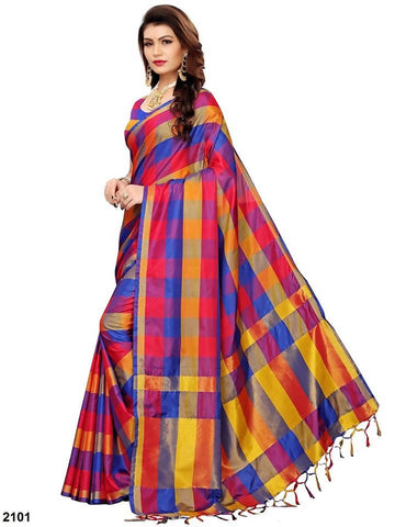 MultiColor Weaved Checked Cotton Silk Saree With Blouse Piece
