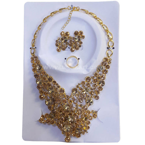 CJ Stones Golden Necklace Set With Earrings, Bracelet and Ring