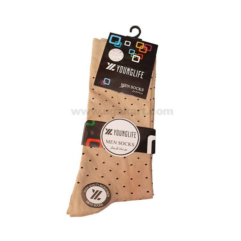 Younglife Men Socks_Cream With Black Dots