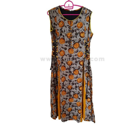 Ladies' Short Sleeve Multi-colored Floral Dress - Size L