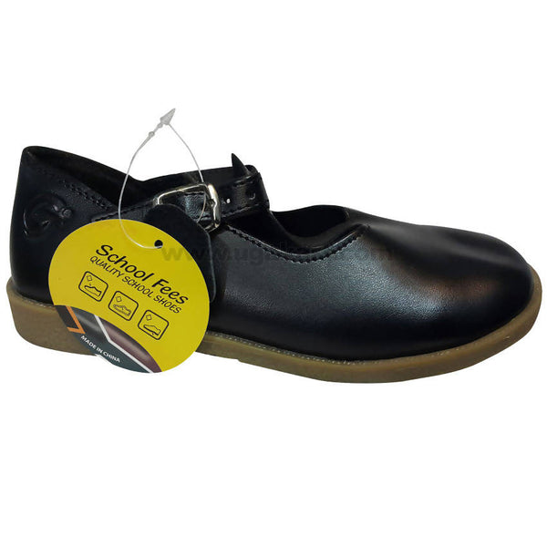 Black Leather School Shooes For Girls
