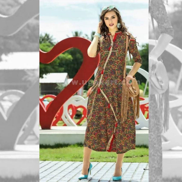 Multi Coloured Floral Print Kurti - Size XXL
