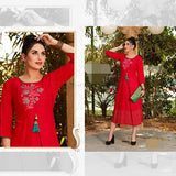 Reyon Soft Cotton Top Red With Green_XXL(40-42)