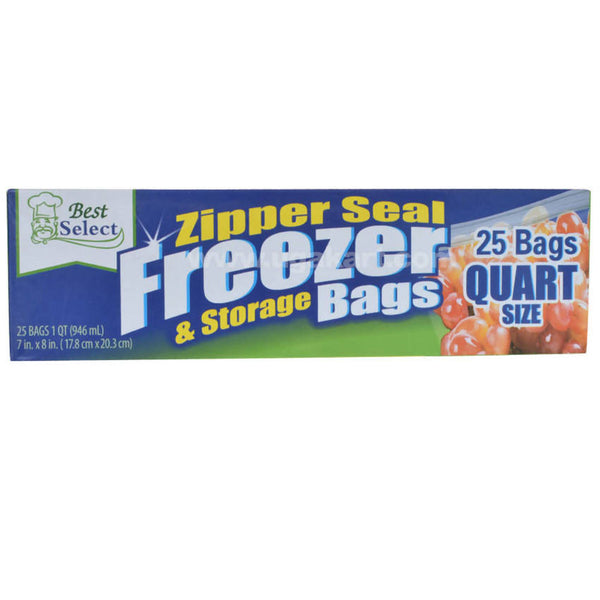 Zipper Seal Freezer & Storage Bags-25 Bags (17.8cmx20.3cm)