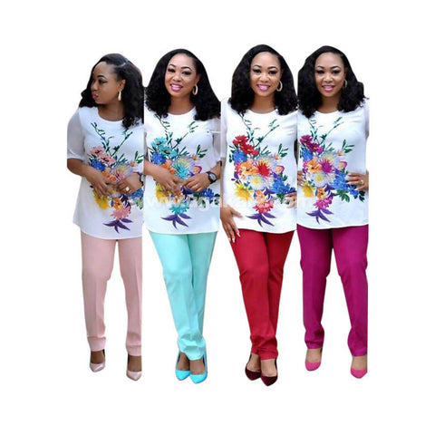 White Floral T-Shirt With Pant-Blue,Pink,Red,Marjanda-Size M,L,XL,XXL,XXXL