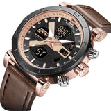 NAVI Force Digital and Analog watch With Brown Leather Band