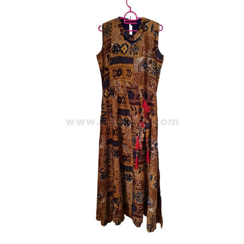 Women's Multi-colored Long Floral Dress - Size L