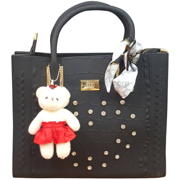 Black Ladies Hand Bag With Small Teddy