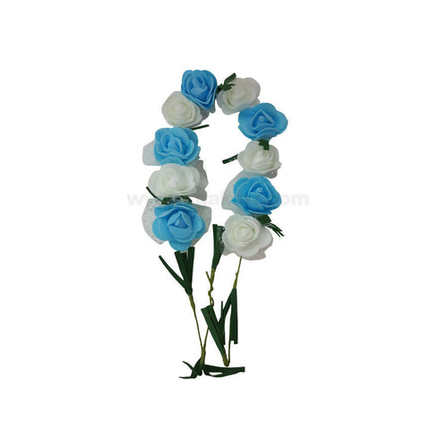 Blue and white rose flowers