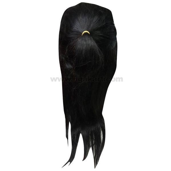 Long Human Hair Less Wig_Black