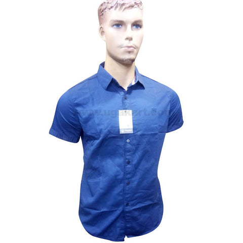 Dark Blue Half Sleeve Regular Fit Shirt For Men