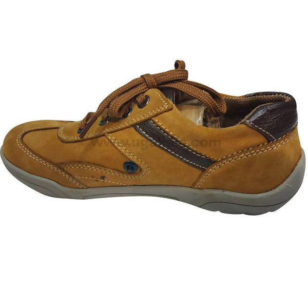 Yellow and Brown Leather Shoes With Laces For Kids