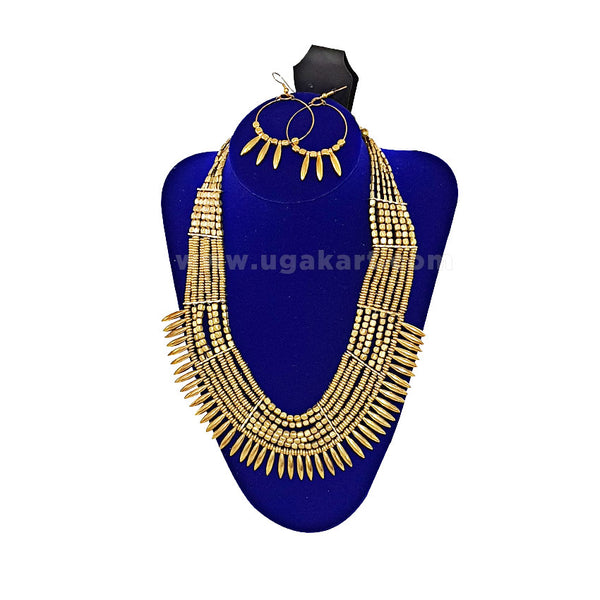 Golden African Necklace With Earrings