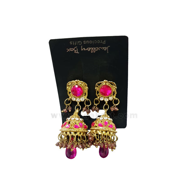Pink And Gold Earrings Jhumka Style