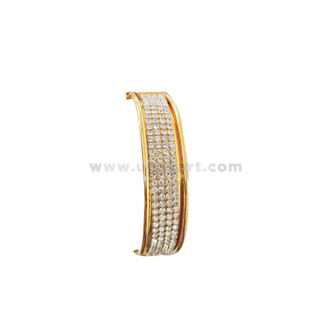 Gold With Silver Bangle With Plastic Crystle
