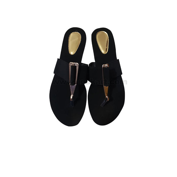 Womens Sandal Black and Golden