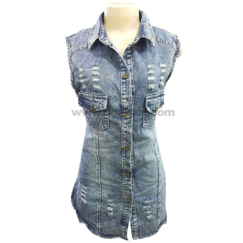 Women's Sleeve less Vintage Button Down Jean Shirt_Free Size