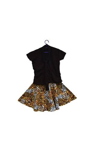 Woman  Office wear Animal print kitenge round skirt with chiffon top  (waist size 30-32)