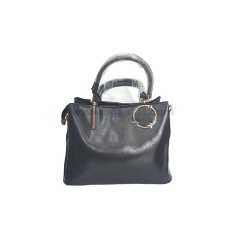 IO Black Faux Leather Hand Bag For Women's