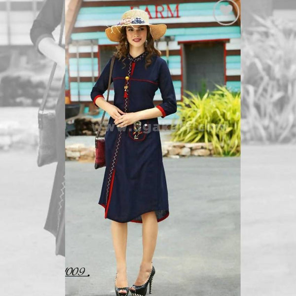 Dark Blue Kurti With Red Color - Size XXL