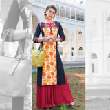 Orange And Black Kurti With Red Skirt - Size XXL