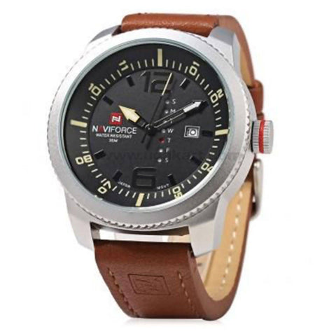 NaviForce Analog Brown Leather Watch With Date