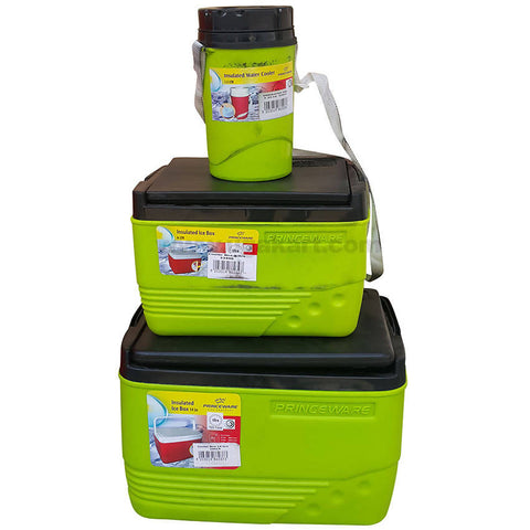 Green & Black Insulated Ice Box Set of 3 (Two Ice Boxes & Water Cooler)