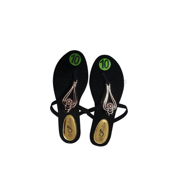 Black And Golden Womens sandal
