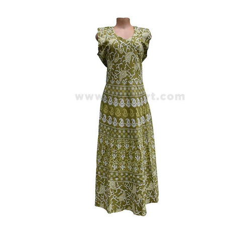 Cotton Floral Printed Dress For Women - Size XXL/42