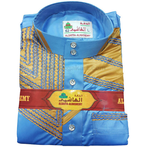 Aldaffa-Alhashemy Daffah Thobes Blue and Golden